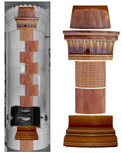 Brauner modellierter antiker Kachelofen