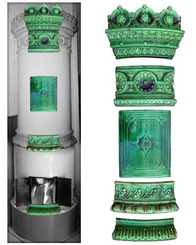 Grüner modellierter antiker Kachelofen