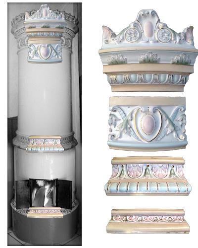 Bemalter modellierter antiker Kachelofen pastell