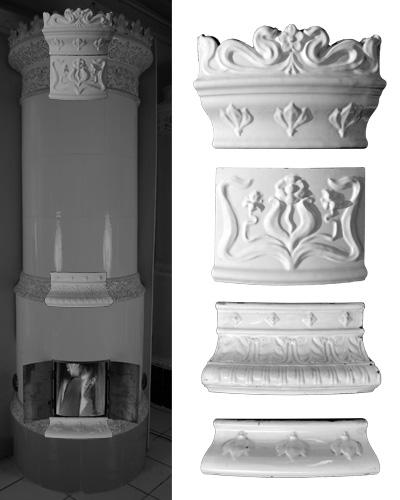 Modellierter antiker Kachelofen mit Mittelsims 01