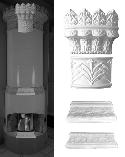 Modellierter antiker Kachelofen mit Mittelsims 02