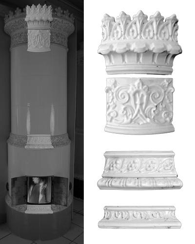 Modellierter antiker Kachelofen mit Mittelsims 03