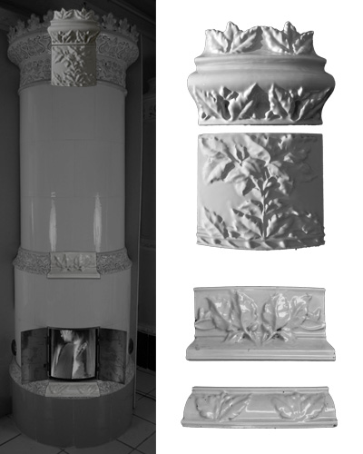 Modellierter antiker Kachelofen mit Mittelsims 04