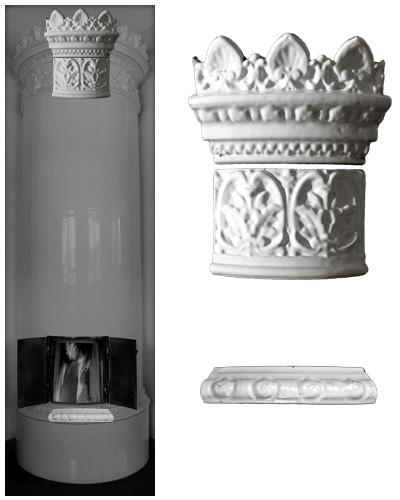 Modellierter antiker Kachelofen ohne Mittelsims 01