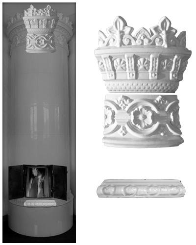 Modellierter antiker Kachelofen ohne Mittelsims 02