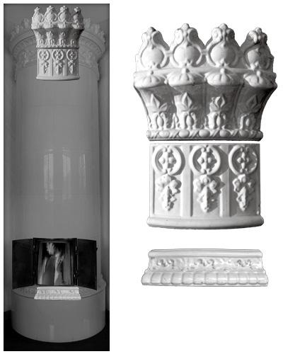 Modellierter antiker Kachelofen ohne Mittelsims 04