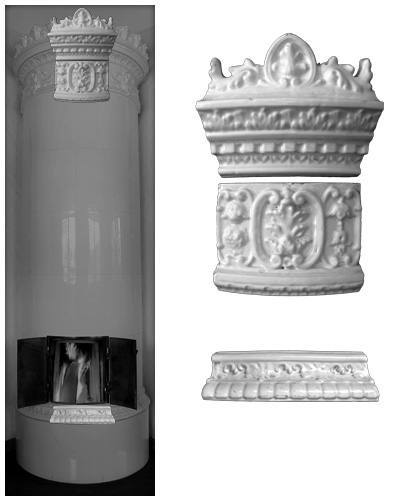 Modellierter antiker Kachelofen ohne Mittelsims 05